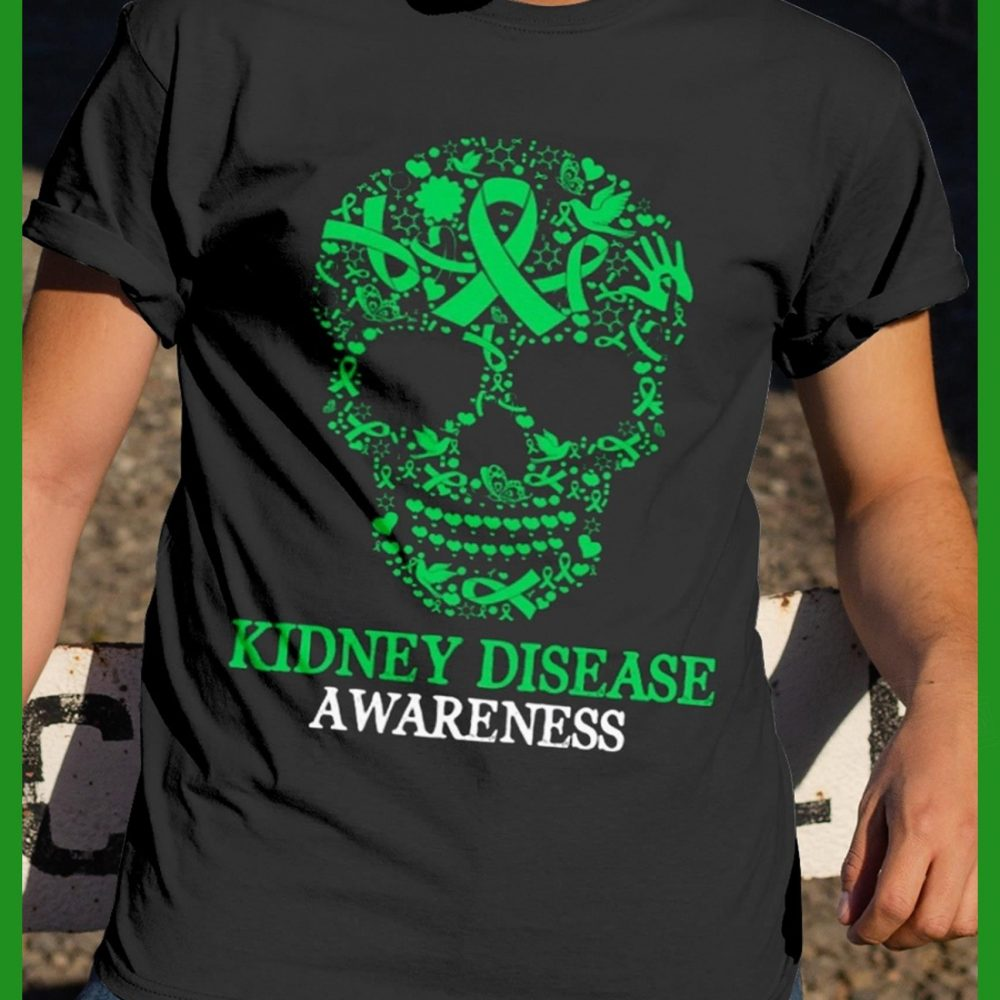Green Skull Kidney Disease Awareness Shirt