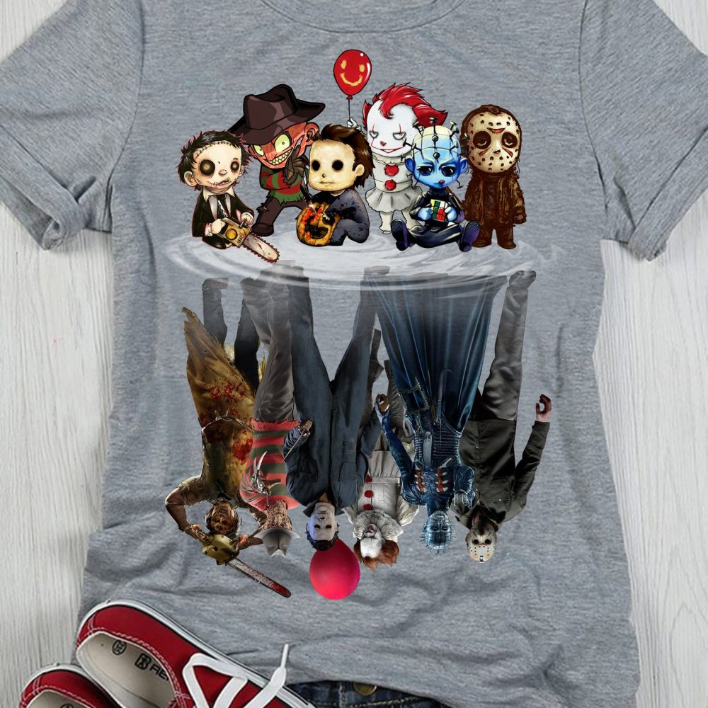 Horror Movies Character Chibi Reflection Shirt