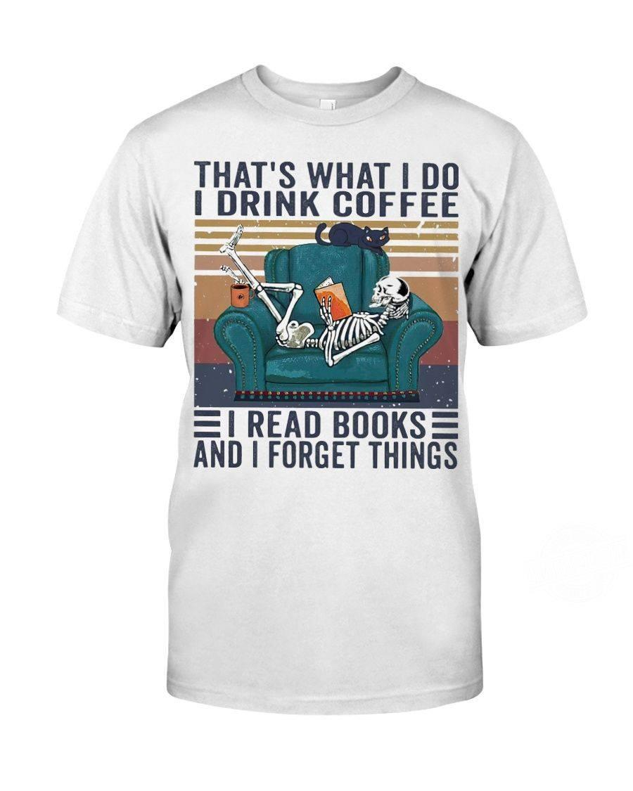 SKELETON DRINK COFFEE READ BOOKS VINTAGE Shirt