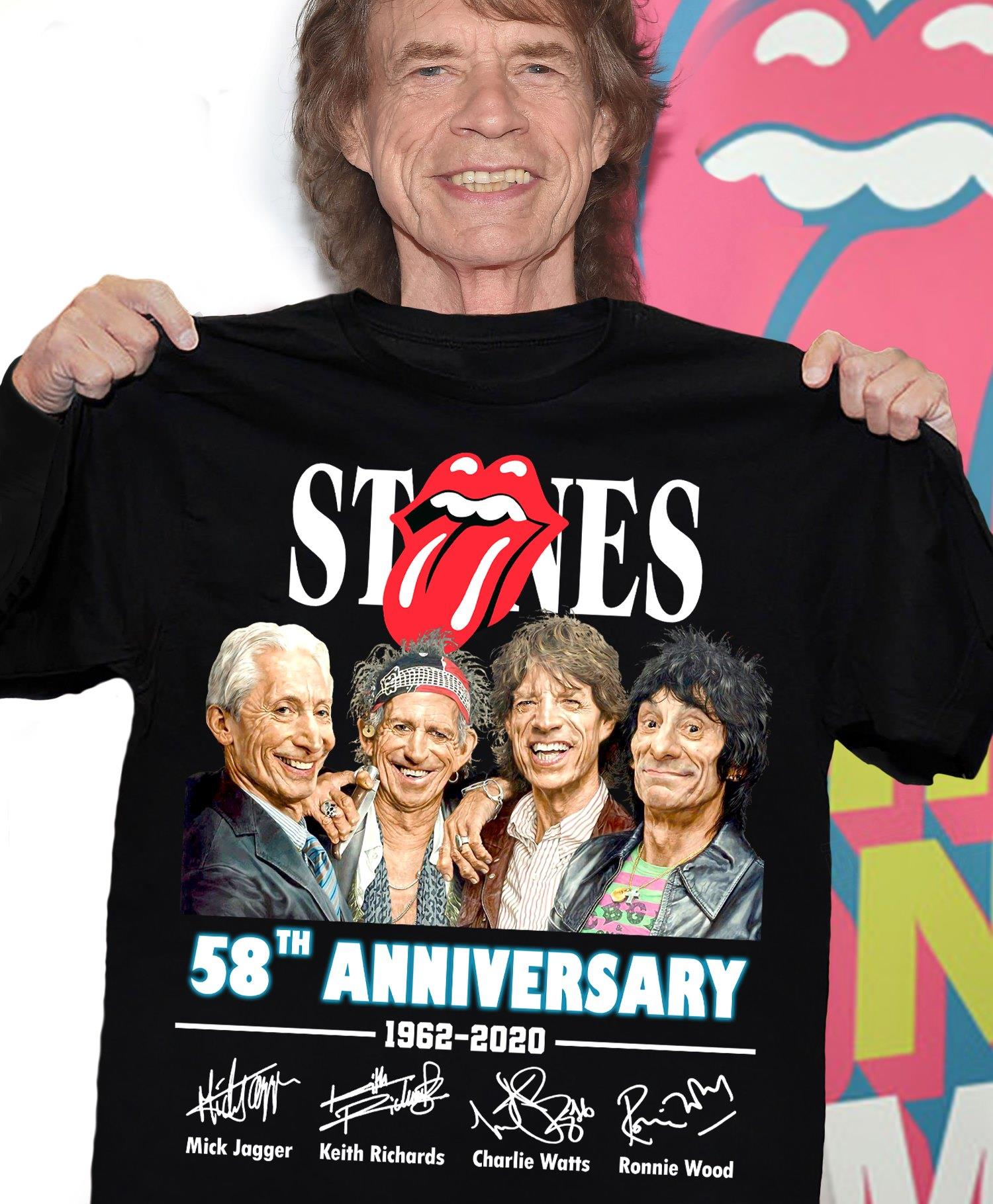 Stones 58th Anniversary 1962 - 2020 Members Signature Shirt