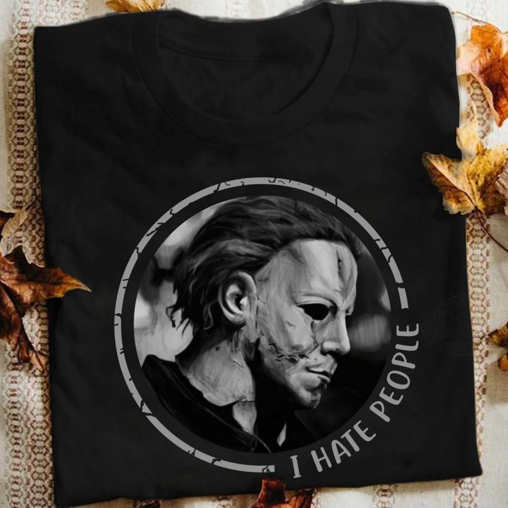 The Horror Character Face And I Hate People Shirt